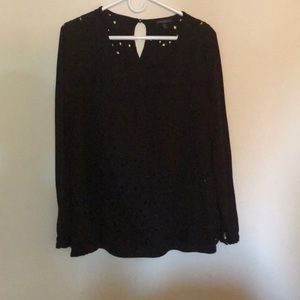 Long sleeve crochet front shirt